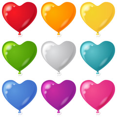 Balloons, heart shaped, set