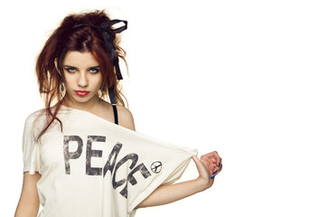 beautiful girl promotes peace