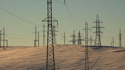 High voltage towers. winter