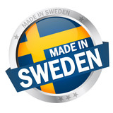 "Button mit Banner "" MADE IN SWEDEN """