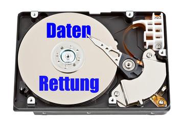 Festplatte mit Aufschrift - Datenrettung - Datenverlust