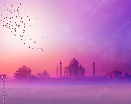 Plexiglas India India. Taj Mahal sunset silhouette. Tajmahal palace in sunset sk