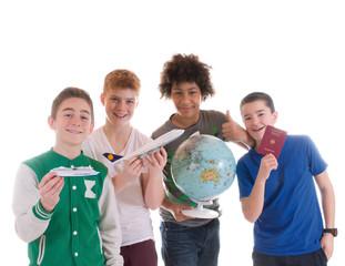 Gruppe Teenager planen Reise