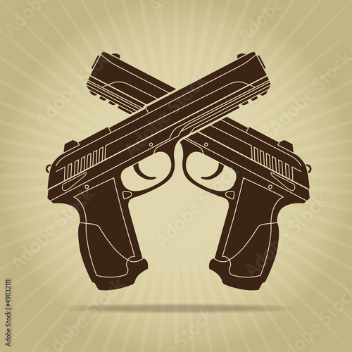 Retro Styled Crossed Pistols Silhouette