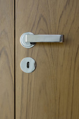 detail of wooden doors with chrome handle
