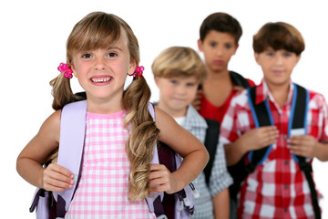 kids wearing their school bags