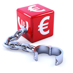 Red Euro dice with chain