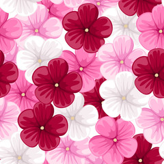 Seamless background with mallow flowers. Vector illustration.