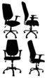 four office chairs isolated on white