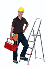 craftsman climbing a ladder