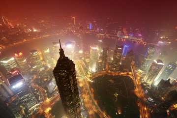 beautiful shanghai in the evening,aerial view from world financi