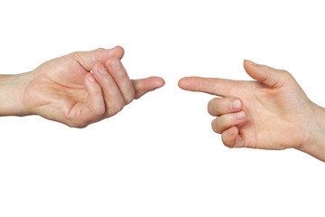 Male and female hands isolated on white