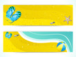 summer beach and flip flop banners
