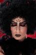 Closeup portrait of evil woman