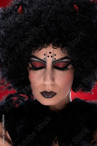 Closeup portrait of evil woman