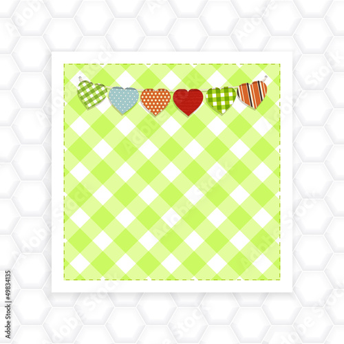 Gingham panel and bunting on white honeycomb background