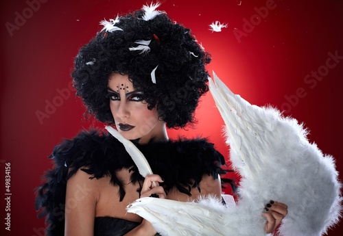 Evil woman with angel wings