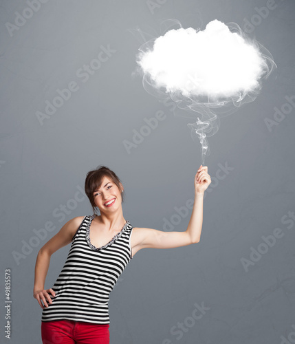 Beautiful lady holding cloud