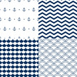 Navy vector seamless patterns set: scallop, waves, anchors