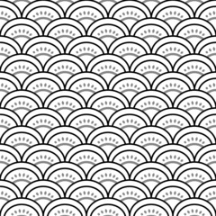 Traditional waves ornament in black and white pattern, vector