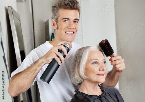 Hairstylist Setting Up Customer's Hair