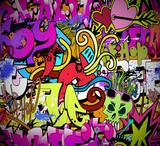 Fototapety Graffiti wall art background. Hip-hop style seamless texture pat
