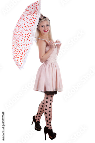 Beautiful pin-up girl with umbrella, isolated on white
