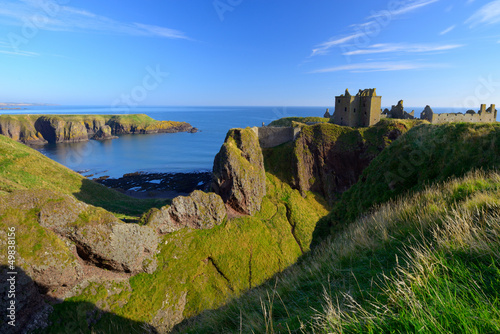 Dunnottar Castle  with blue sky background