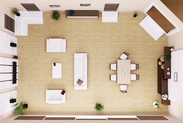 Modern wohnzimmer interior 3d