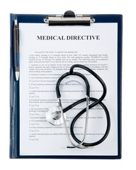 Medical directive and stethoscope in a clipboard