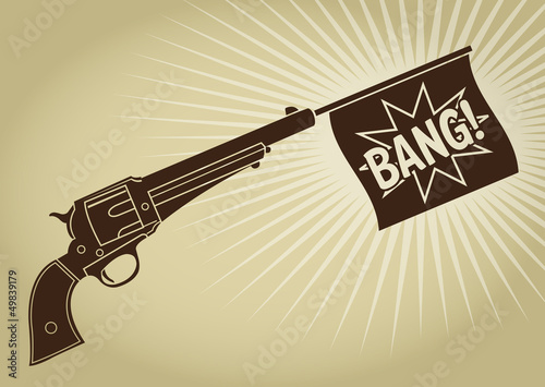Vintage Styled Revolver with Bang Flag