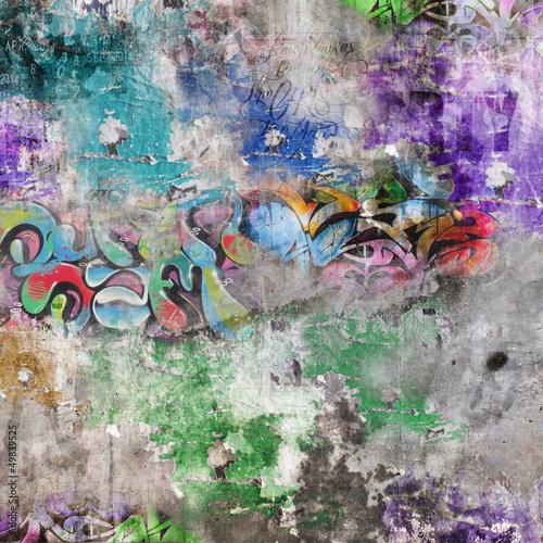 Zdjęcia na płótnie, fototapety na wymiar, obrazy na ścianę : Fond mur grunge - Graffitis