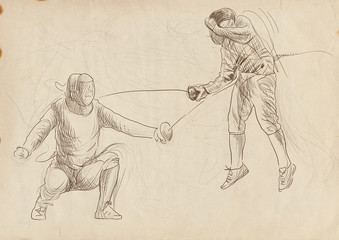 fencing duel - full sized hand drawing