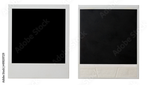 polaroid photo frame both sides isolated on white