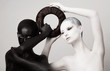 Women in Ying Yang Style. Occult Contrast Make-up. Unity