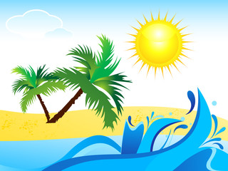 abstract summer background with water wave