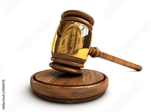 Gavel with the reflection of dollar