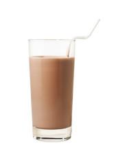 Glas Milch mit Kakao isoliert mit Pfad
