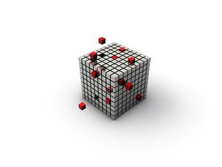 würfel cube Business rot chrom viele