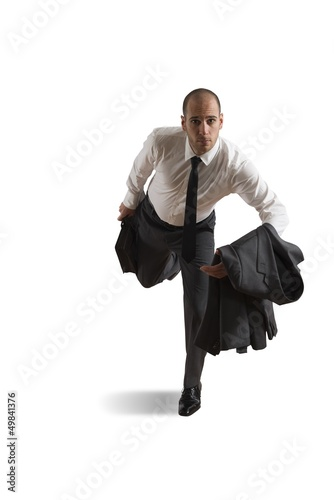 Runnning businessman