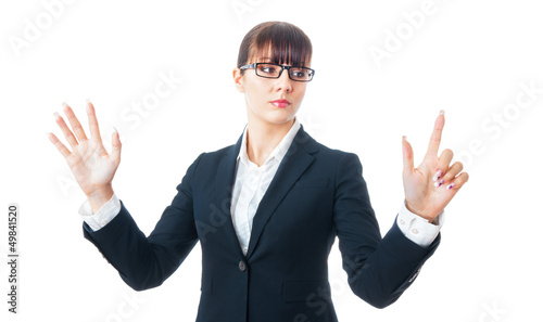 Portrait of a young businesswoman touching