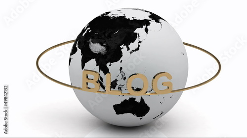 BLOG on a gold ring rotates around the earth