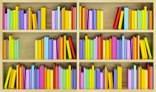 Bibliothèque avec des livres multicolores