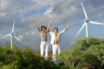 Zen couple on a wind farm