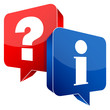 Speech Bubbles Question Red & Information Blue