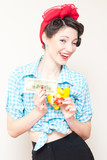 Retro pinup woman saving money
