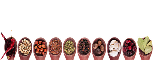 Spice collection on white background
