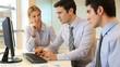 Business people meeting in front of desktop