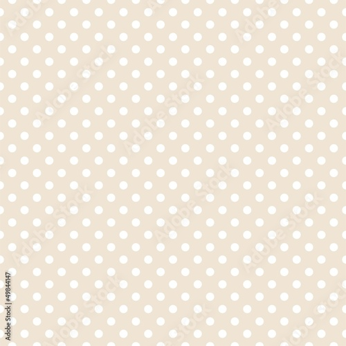Poster Seamless vector  pattern white polka dots beige background