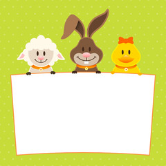 Card Lamb, Bunny & Duck Label Dots Green